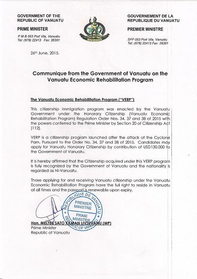 瓦努阿图总理声明有关经济重建计划 (26/06/2015)